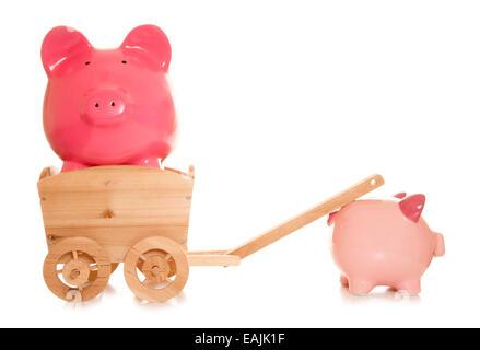 Piggy Bank gezogen in einen Warenkorb-Ausschnitt - Stockfoto