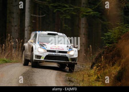 Cerrigydrudion, Wales. 16. November 2014. FIA World Rally Championship, Wales Rallye GB. Andreas Mikkelsen und Ola - Stockfoto