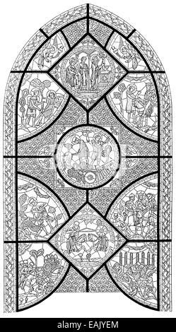 ein Kirchenfenster, die Saga von Roland, Kathedrale von Notre-Dame de Chartres, Frankreich, Europa, Zeichung von - Stockfoto