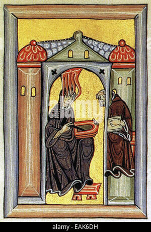 Heilige HILDEGARD von BINGEN (1098-1179) deutscher Mystiker und Universalgelehrte gezeigt in den Liber Scivias - Stockfoto