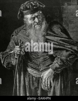 William Shakespeare (1564-1616). Der Kaufmann von Venedig. Shylock. Gravur. - Stockfoto