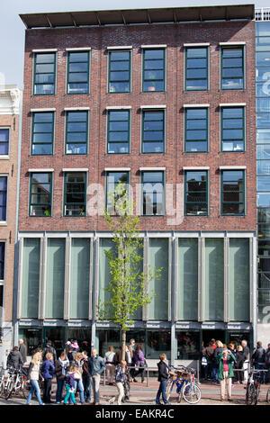 Anne Frank House Museum an der Prinsengracht in Amsterdam Holland, Niederlande. - Stockfoto