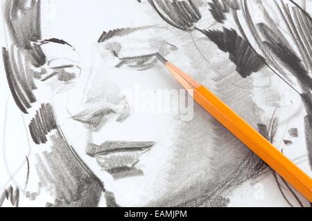 Zeichnung eines Mädchens mit Graphitstift - Stockfoto