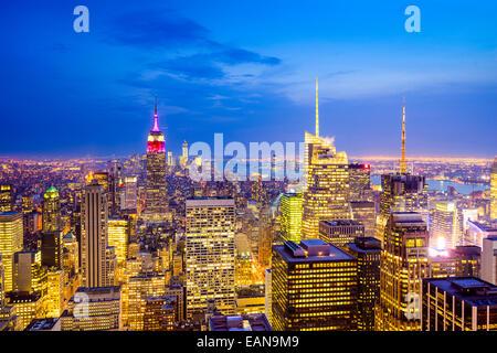 Skyline von New York City, Vereinigte Staaten von Midtown Manhattan. - Stockfoto