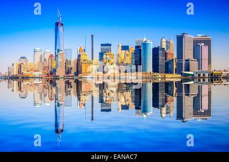 Skyline von Lower Manhattan von New York City, USA. - Stockfoto