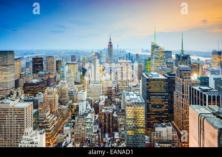 Skyline von New York City, Vereinigte Staaten von Midtown Manhattan. Stockfoto