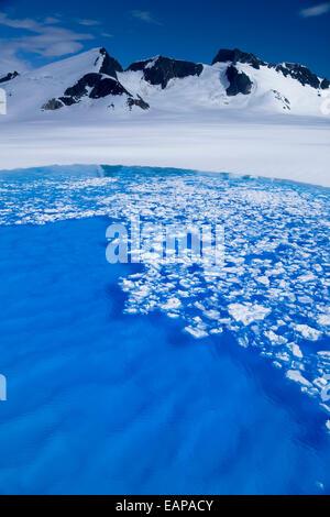 Oberfläche Eis zu brechen, offenbart die strahlend blauen Wasser des Teiches Schmelze auf den Juneau Eisfeld. Sommer - Stockfoto
