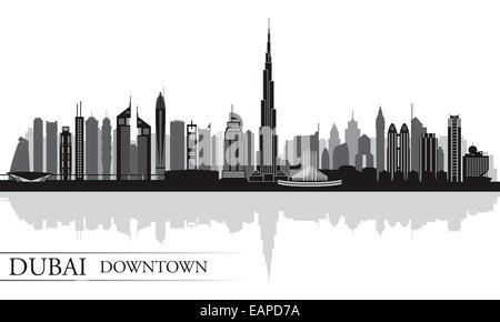 Dubai Downtown City Skyline Silhouette Hintergrund - Stockfoto