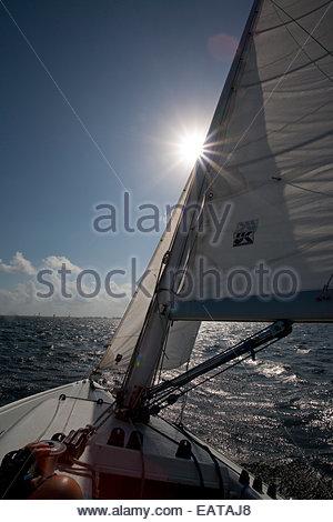 Ein Boot fährt über Biscayne Bucht. - Stockfoto