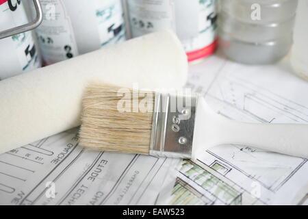 Verzierung & Malerei, Werkzeuge und Materialien - Stockfoto