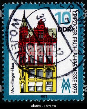 """Deutsche Demokratische Republik - ca. 1979: Eine Briefmarke gedruckt in Deutschland aus der """"Leipziger Frühjahrsmesse"""" - Stockfoto"""