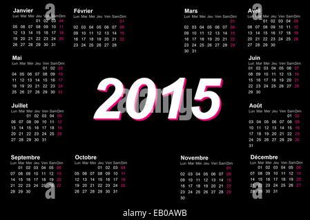 Europäischen Französisch 2015 Jahr Kalender mit Woche ab Montag
