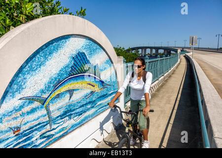 Daytona Beach Florida Broadway Brücke Halifax Fluß Kunst Mosaik Fliese Wandbild Intracoastal Waterway Sailfish Hispanic - Stockfoto