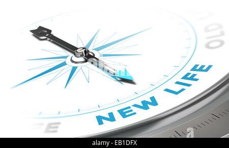 Neuer Hintergrund Lebenskonzept. Kompass-Nadel zeigt ein blaues Wort, dekorative Bild geeignet für linken unteren - Stockfoto