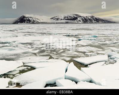 Fjord mit Packeis, Phippsøya, Sjuøyane, Spitzbergen, Svalbard und Jan Mayen, Norwegen - Stockfoto