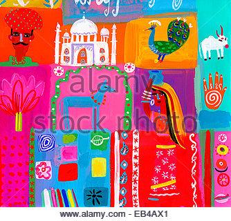 Montage der traditionellen Kultur in Indien - Stockfoto