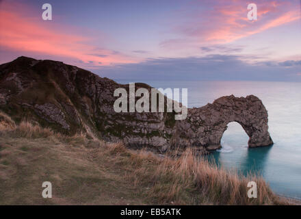 Durdle Door Sonnenuntergang - Stockfoto