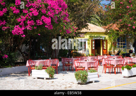 ASOS, Kefalonia, Ionische Inseln, Griechenland. Bunte Taverne auf dem Dorfplatz, Bougainvillea Prominente. - Stockfoto