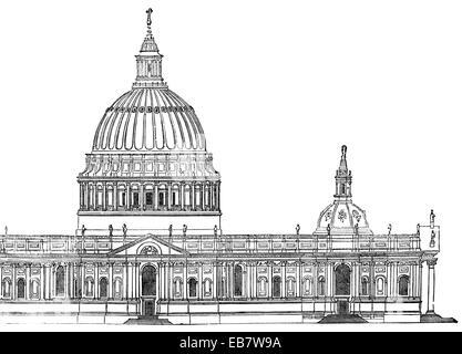 Sir Christopher Michael Wrens erster Entwurf für die St. Pauls Cathedral, London, England, Vereinigtes Königreich, - Stockfoto