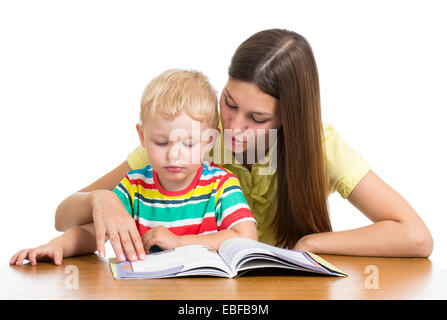 Mutter lehrt Buch, kid - Stockfoto