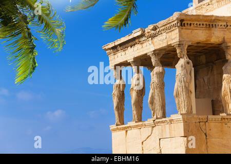 Schöne Aussicht auf Erechtheion mit Palm in Athen - Stockfoto
