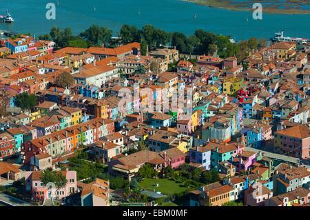 Luftaufnahme der Insel Burano, Venedig Lagune, Italien, Europa - Stockfoto
