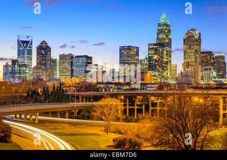 Die Skyline von Charlotte, North Carolina, USA Innenstadt. - Stockfoto