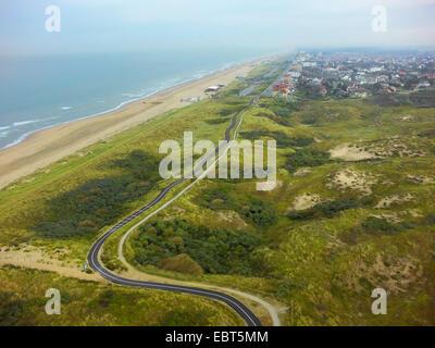 Luftbild auf Rasen gewachsen Dünen an der Nordsee Küste, Niederlande, Coepelduynen, Noordwijk Aan Zee - Stockfoto