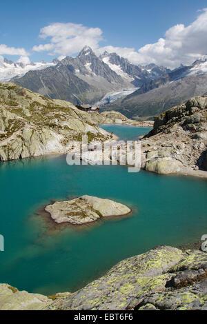 Lac Blanc mit Aiguille du Chardonnet, Frankreich - Stockfoto