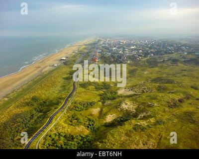 Luftbild, Dünenlandschaft an der Nordsee Küste, Niederlande, Coepelduynen, Noordwijk Aan Zee - Stockfoto