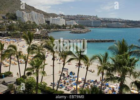 Blick über den Badestrand, Kanarische Inseln, Gran Canaria, Patalavaca - Stockfoto