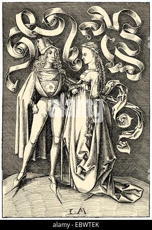 mittelalterliche Kostüme, 15. Jahrhundert, - Stockfoto