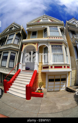 san francisco viktorianische h user am alamo square in kalifornien usa stockfoto bild. Black Bedroom Furniture Sets. Home Design Ideas