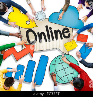 Luftaufnahme von Geschäftsleuten und Online-Konzepte - Stockfoto