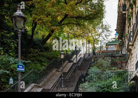 Reihe Schritte rue Ronsard Montmartre Paris Frankreich - Stockfoto