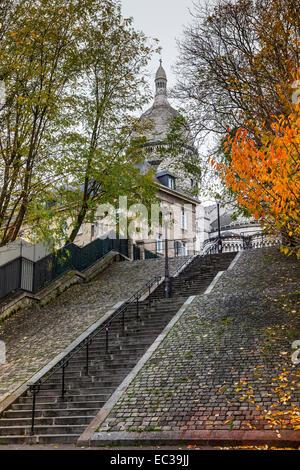 Reihe Schritte Sacre Coeur Montmartre Paris Frankreich - Stockfoto