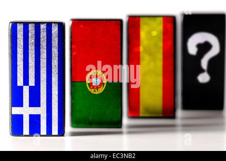 Domino mit Flaggen von Griechenland, Portugal und Spanien, Domino-Effekt - Stockfoto