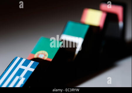 Knock-on-Effekt auf europäische Länder durch Schuldenkrise verursacht - Stockfoto