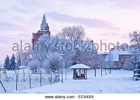 Burg Klempenow Burg im Winter, Mecklenburg, North Eastern Germany, Europe. - Stockfoto