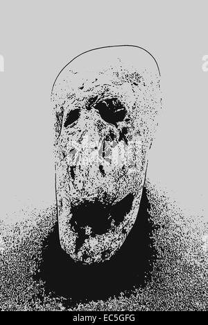 Stein, sah aus wie ein Leiden Gesicht digital bearbeitet - Stockfoto