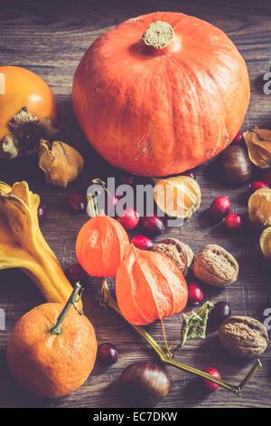 Herbstliche Früchte und Gemüse auf dunklem Holz - Stockfoto