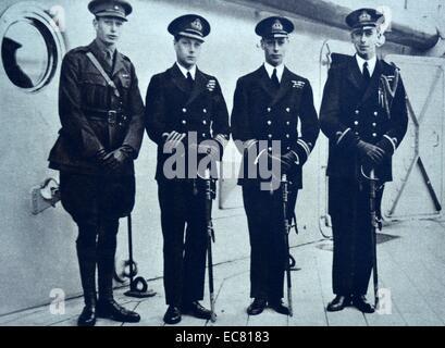 Prinz Albert, Prinz Henry, Lord Louis Mountbatten Abschied von der Prince Of Wales. - Stockfoto