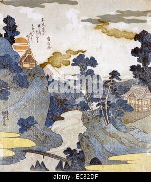 Japanische hand farbige Holzschnitt. Feder des Asazawa stream, gesehen von den heißen Quellen in Hakone. Jenseits - Stockfoto