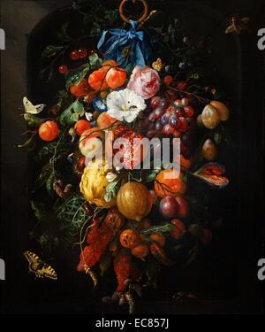 Anstrich des Soffitten von Früchten und Blumen. Bemalte Jan Davidsz de Heem (1606-1683). Vom 17. Jahrhundert - Stockfoto