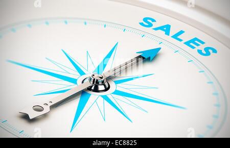 Kompass mit Nadel zeigt das Wort Vertrieb, weißen und blauen Tönen. Hintergrundbild zur Veranschaulichung der Verkaufsziele - Stockfoto