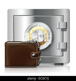 Klassische moderne braun Leder Brieftasche voller Dollar Banknoten und Metall glänzend Safe mit Code-Sperre-Vektor - Stockfoto