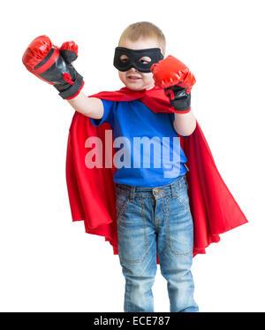 Superheld Kind Junge in Maske spielen isoliert - Stockfoto