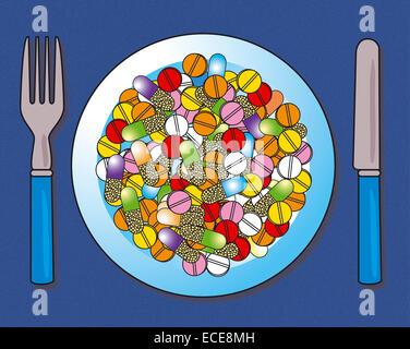 Medikamente auf einer Platte - Stockfoto