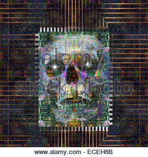 Foto-Illustration die Gefahr der menschlichen Aussterben durch künstliche Intelligenz, die aus einem Computernetzwerk. - Stockfoto