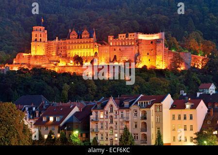Deutschland, Baden-Württemberg: Nächtlichen Blick auf das Heidelberger Schloß - Stockfoto